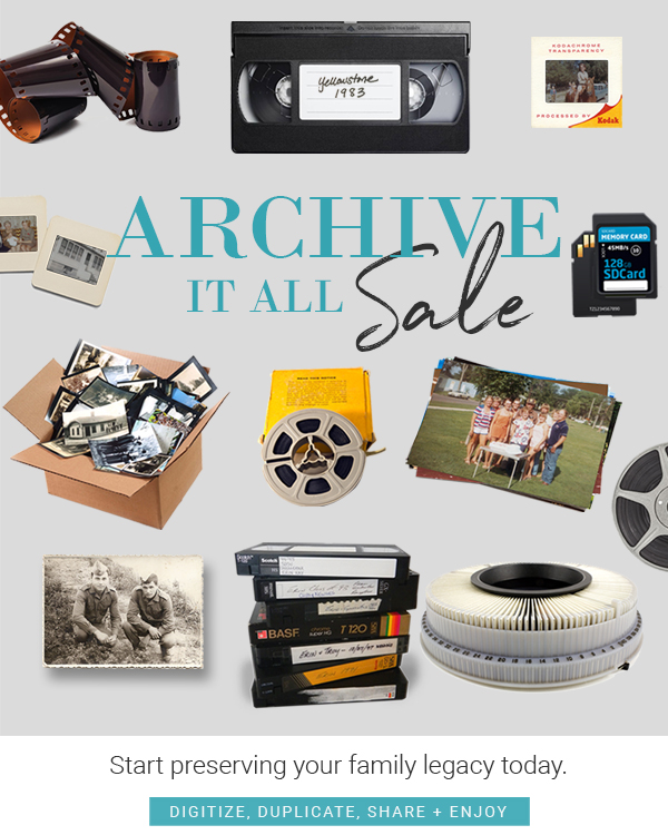 Archive your memories sale on photo scanning and video transfer