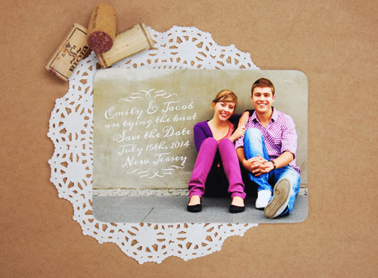 Lovely Script Save the Date Card