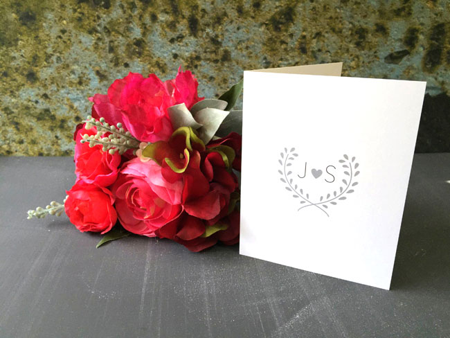 Heart Monogram Note Card
