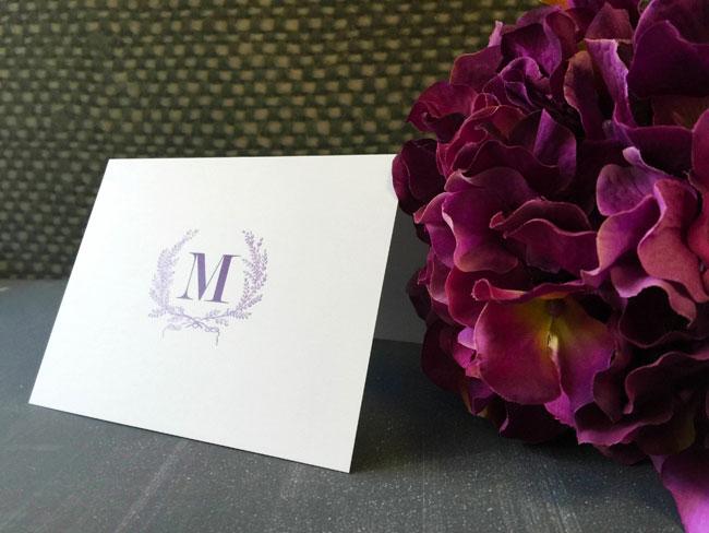Wreath Monogam Note Card