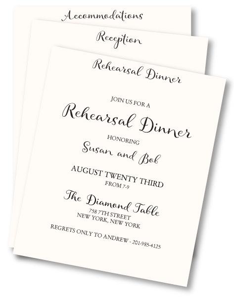 Rehearsal dinner invite as a wedding insert card