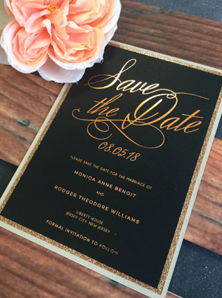 Foil Save the Date with glitter paper mat