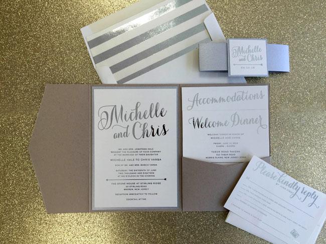 Silver foil pocket invitation with silver foil liner