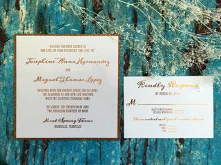 copper foil invitation with RSVP
