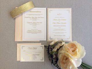 goil foil invitation with sparkle paper belly band