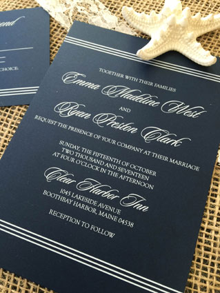 White Ink Printed Wedding Invitations