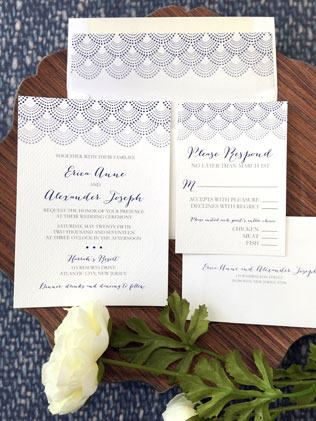 Scallop Wedding Invitation with RSVP Card
