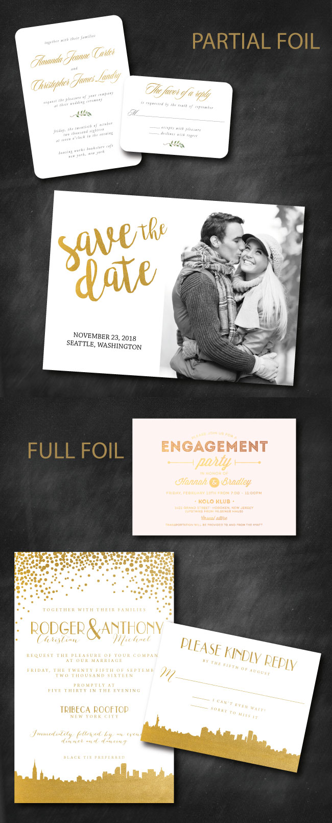 Foil Printed Invitation Designs